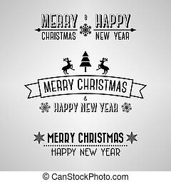 ouderwetse , kerstmis, vrolijk, tekens & borden
