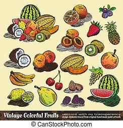 ouderwetse , kleurrijke, verzameling, vruchten