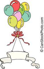 ouderwetse , kleurrijke, vliegen, spandoek, ballons