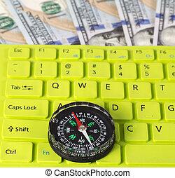 ouderwetse , knoop, dollar, ons, groen sleutel, kompas, rekeningen