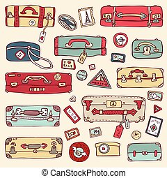 ouderwetse , koffer, set., reizen, vector, illustration.