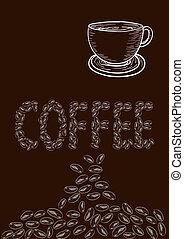 ouderwetse , koffie bonen, kop