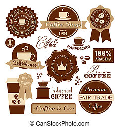 ouderwetse , koffie, etiketten