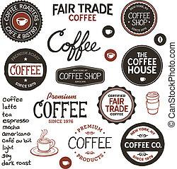 ouderwetse , koffie, etiketten, en, lettering