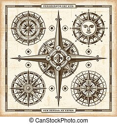 ouderwetse , kompas, set, rozen