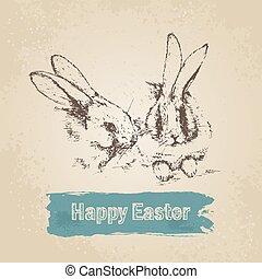 ouderwetse , konijnen, achtergrond, pasen