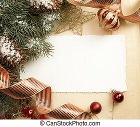 ouderwetse , kunst, kerstmis kaart, groet