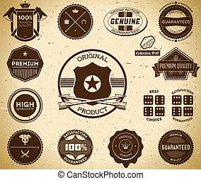 ouderwetse , labels., verzameling, tien