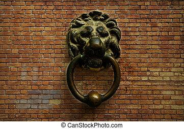 ouderwetse , leeuw, deurbel