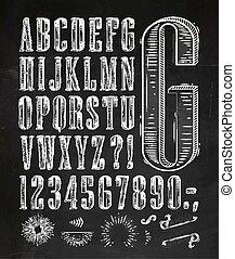 ouderwetse , lettertype, brieven, krijt