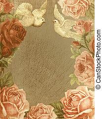 ouderwetse , liefde, achtergrond, rozen