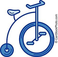 ouderwetse , lijn, fiets, icon.