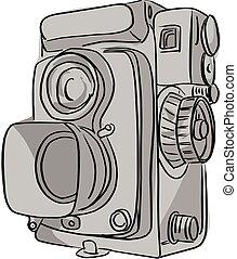 ouderwetse , lijnen, vrijstaand, illustratie, vector, zwarte achtergrond, witte , fototoestel