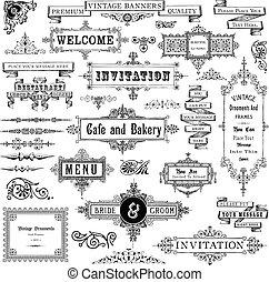 ouderwetse , lijstjes, en, versieringen, set