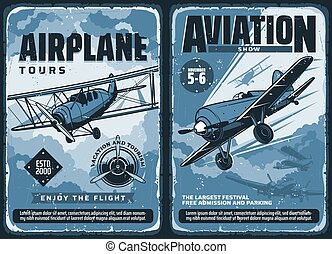 ouderwetse , luchtvaart, affiches, vliegtuigen, gewoonte, ...