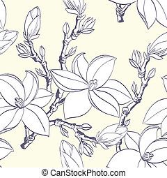 ouderwetse , magnolia, bloem, seamless, model