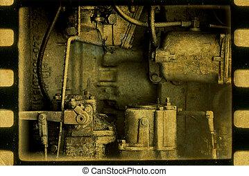 ouderwetse , mechanism., steampunk, abstract, achtergrond.