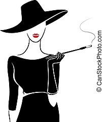 ouderwetse , meisje, mode, aftekenmal, sigaar