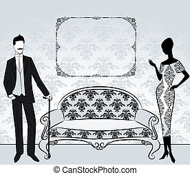 ouderwetse , meisje, silhouette, man