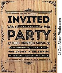 ouderwetse , meldingsbord, feestje, uitnodiging