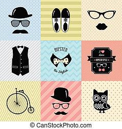 ouderwetse , mode, hipster, achtergrond, schattig