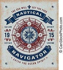 ouderwetse , navigator, typografie, nautisch