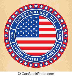 ouderwetse , onafhankelijkheid dag, usa, etiket