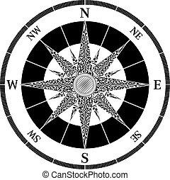 ouderwetse , ontwerp, kompas