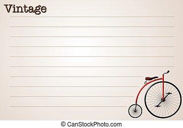 ouderwetse , ontwerp, papier, fiets, lijn