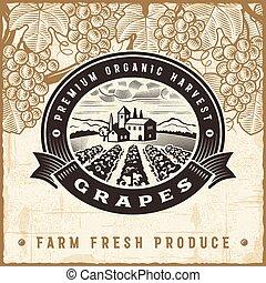 ouderwetse , oogsten, druiven, etiket
