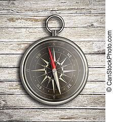 ouderwetse , op, hout, achtergrond, kompas