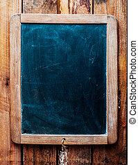 ouderwetse , op, hout, chalkboard, achtergrond.