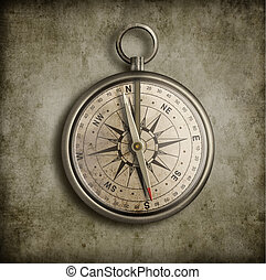 ouderwetse , op, oud, achtergrond, kompas