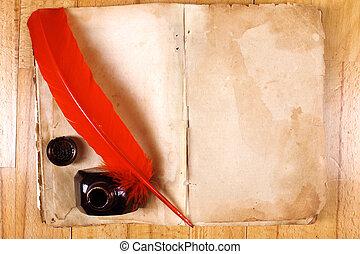 ouderwetse , open, lege, boodschap, boek, met, rode veer, pen en, inkwell, op, tafel