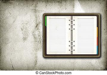 ouderwetse , open, pagina, achtergrond, leeg