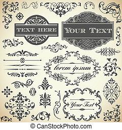 ouderwetse , ornament, kalligrafie, set
