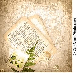 ouderwetse , oud, achtergrond, brief