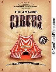 ouderwetse , oud, circus, poster, met, groot bovenst
