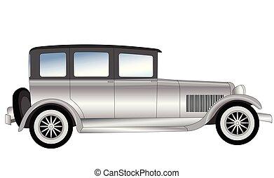 ouderwetse , oud, tijdopnemer, illustratie, auto