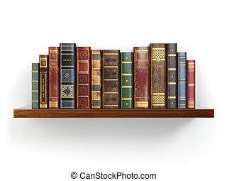 ouderwetse , oude boeken, op, plank, vrijstaand, op, white.