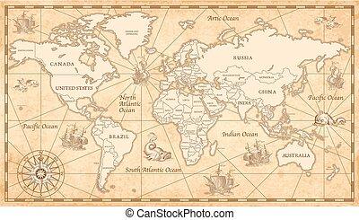 ouderwetse , oude wereld, kaart
