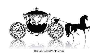 ouderwetse , paarde, silhouette, wagen