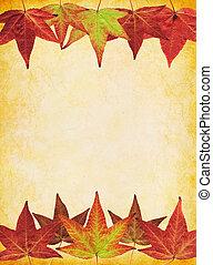 ouderwetse , papier, blad, achtergrond, herfst