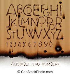 ouderwetse , papier, getallen, achtergrond, alfabet, verbrand buiten