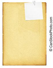 ouderwetse , papier, met, klem, en, note.