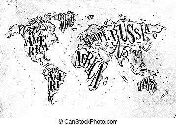 ouderwetse , papier, worldmap