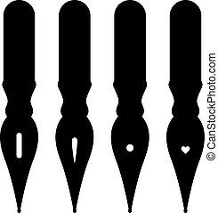 ouderwetse , pen, vector, nibs, inkt