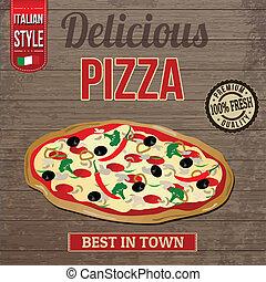 ouderwetse , pizza, heerlijk, poster