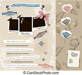 ouderwetse , plakboek, communie, set.