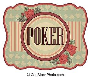 ouderwetse , pook, casino, uitnodiging